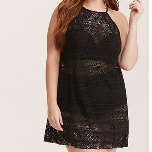 TORRID CROCHET HALTER NECK SWIM COVER UP